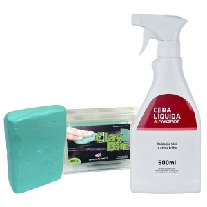 Kit Descontaminação Clay Bar Mills 200g + Lubrificante Cera Líquida Finisher 500ml